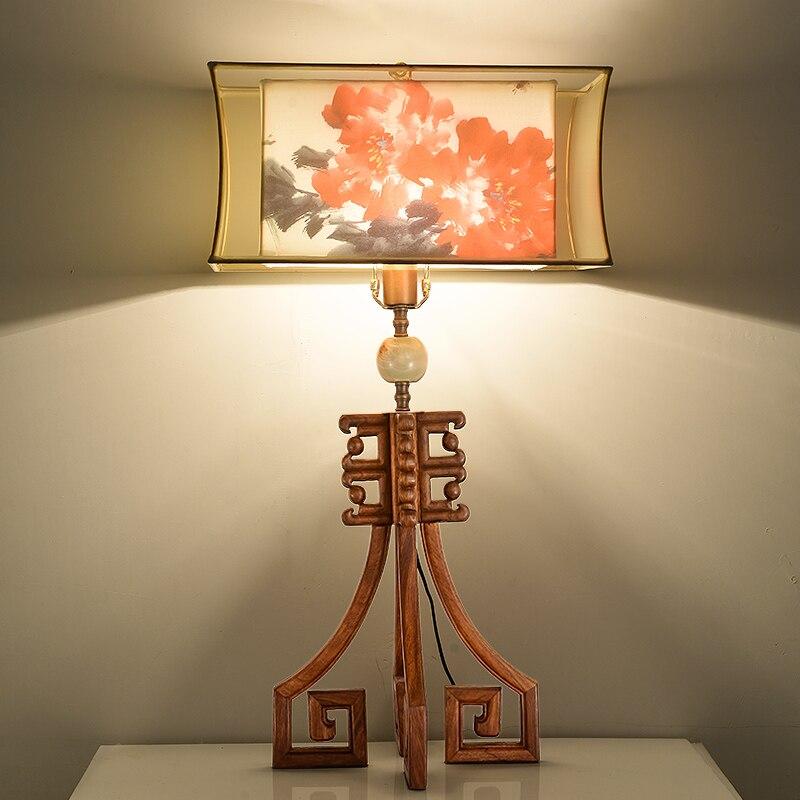 Светодиодная настольная лампа Lustre в китайском стиле квадратный абажур украшение для гостиной настольная лампа для спальни