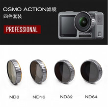Optional DJI OSMO ACTION Accessories Camera Lens Adjustable/Diving Filter Sets ND8+ND16+ND32+ND64 FILTER nisi nd1000 nd64 nd16 nd8 100 100mm camera filter square nd filter optical glass double side ultra coating for under 82mm lens