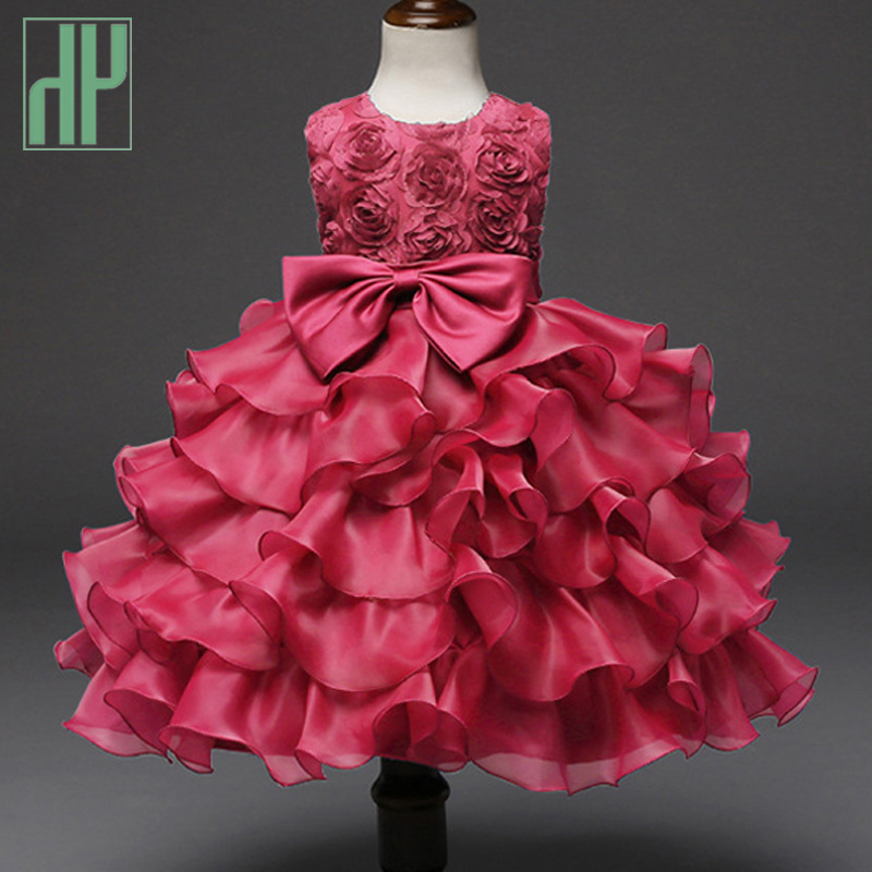 HH Brand Kids dresses for girls Princess Pageant Wedding blue red flower girl dresses Birthday Party Dress bowknot Ball Gown summer 2017 new girl dress baby princess dresses flower girls dresses for party and wedding kids children clothing 4 6 8 10 year