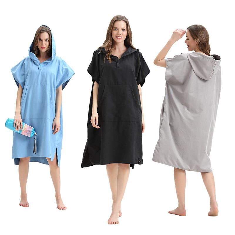 Adult Hooded Poncho Towel Bath Robe Beach Towel Summer Surf Swim Changing Towel