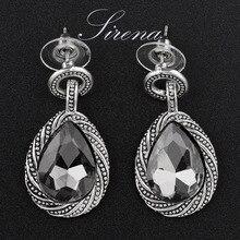 Women Earrings Cz Crystal Water Drop Earings Trendy Jewelry Silver Tone