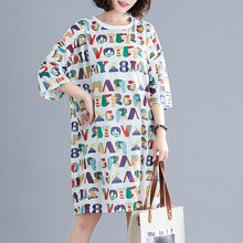 #0540 Summer Big Size Dress 2019 Casual Half Sleeve O-neck Cartoon Print Letter Midi Mesh T Shirt Dress Women Dresses Ladies(China)