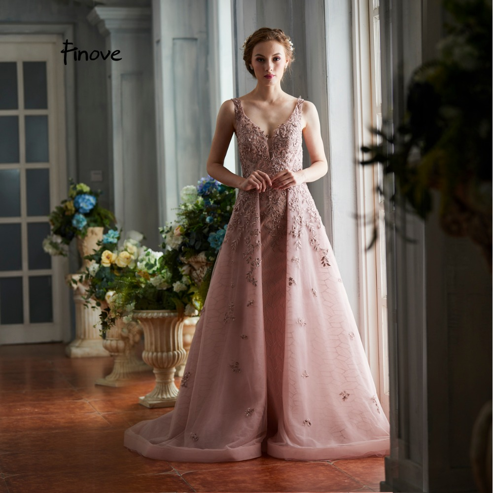 Finove Evening Dress Long 2019 New Pink Chic Neck Line Sexy Backless Appliques Organza Floor Length