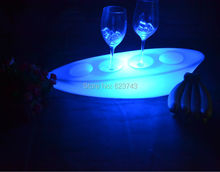 Colorful Flash LED light ship shape serving tray rechargeable ,waterproof glowing boat glass coaster tools for bars,party