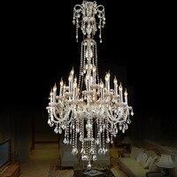 Европейский Стиль кристалл лампы современный Гостиная простой свечах большой комплекс вилла проект лестница люстра 12 или 18 руки