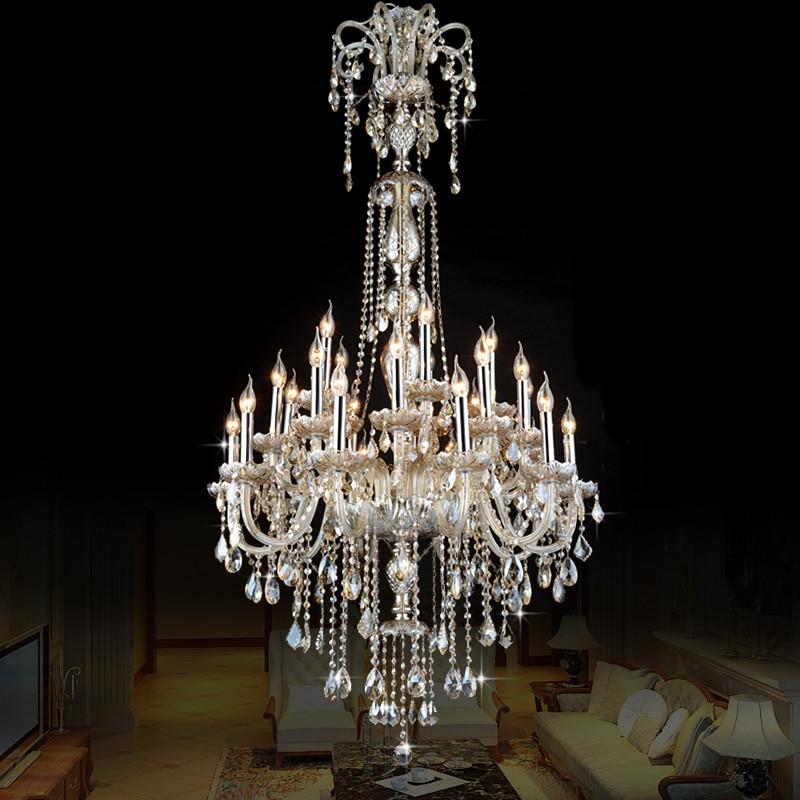 Luz de Velas Lâmpada de Cristal Moderna Sala de estar de Estilo europeu Simples Grande Complexo Do Projeto Villa Escada lustre 12 ou 18 braço