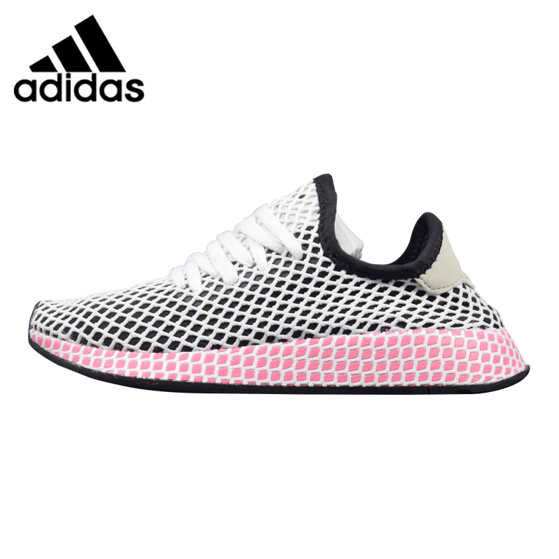 Adidas Deerupt Runner Women's Running Shoes Black & Pink/Pink Wear-resistant Breathable Lightweight CQ2909 CQ2910 adidas deerupt runner men s and women s running shoes grey red shock absorbing breathable lightweight b28076 cq2624