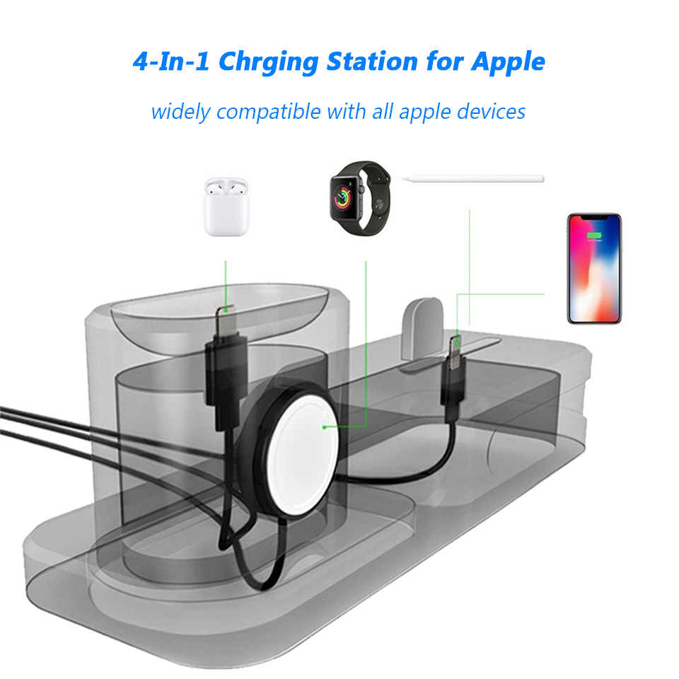 reputable site ce32d 0d471 For iPhone XR XS Max 8 7 6 6S Plus Charging Docking Station for Apple  Pencil Watch iWatch 4 3 2 1 Airpods Desktop Charger Stand