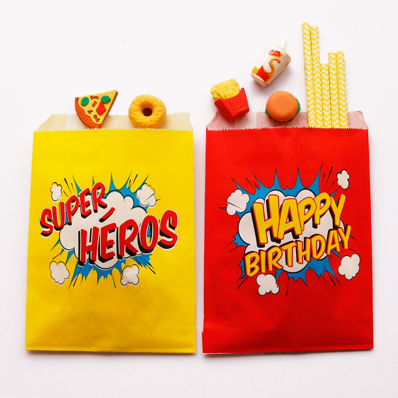 25pcs Happy Birthday Paper Bag For Food Cookies Candy Paper Bags For Gifts Packing Popcorn Bag Gift Bag Wedding Supply