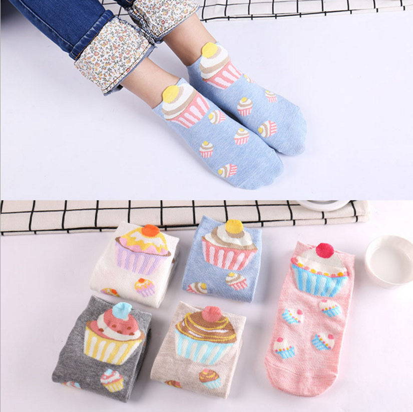BONJEAN Women Size Cupcake No-shown Ankle Cute Short Socks Fairy Patty Cup Cake Bun Dessert Mousse Pinky Cream Sugar Milk ...