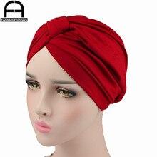 Fashion Women Modal Turban Stretchy Spandex Twist Headband Muslim Chemo Headwear Hat Bandanas Hair Accessories