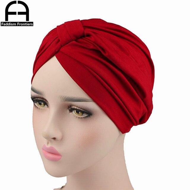 Fashion Women Modal Turban Stretchy Spandex Twist Turban Headband Muslim  Turban Chemo Headwear Hat Bandanas Hair c5f8e92855e