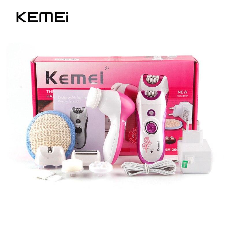 Kemei 6 in 1 Electric Female Epilator Rechargeable s
