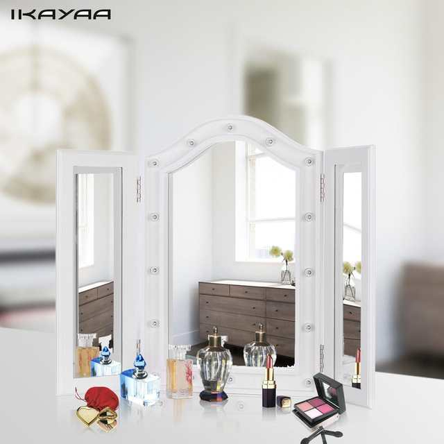 Online Shop Ikayaa Led Lighted Makeup Mirror Cosmetic Mirror Trifold