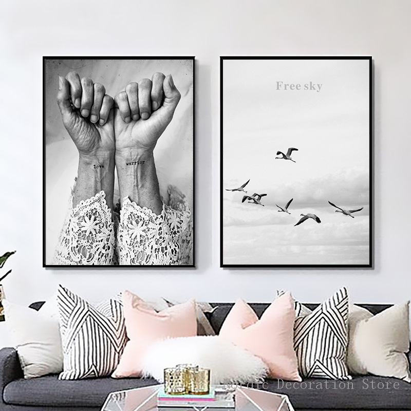 Nordic Poster Black And White Love Warrior Posters And Prints Wall Art Canvas Painting Sky Bird Hand Abstract Canvas Unframed