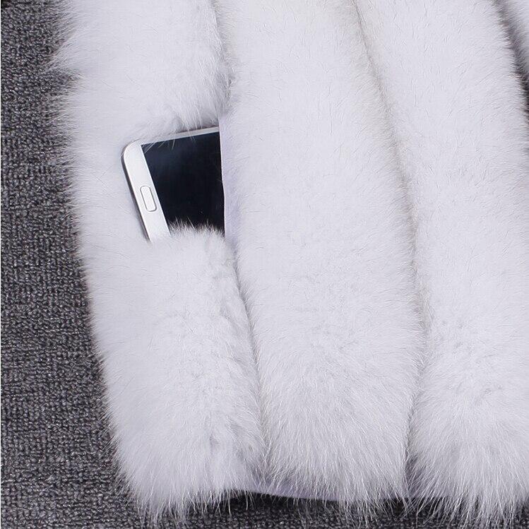 Filles Laisser Manches Long Faux Taille Paragraphe Renard Grande Imitation blanc Fourrure cadre Manteau rose De Nouveau noir Sans D'hiver En Rouge Veste qvz8xwa