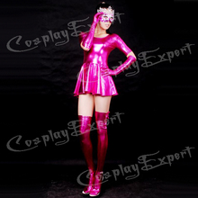 Free Shipping DHL Sexy Fancy Dress Adult Sexy Hot PinK Maid Shiny Metallic Catsuit Dress Catsuit For Halloween Party SZ14010313