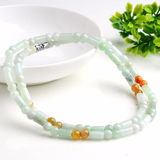 Hot Sale  100% Natural Jadeite Tube Round Beads Elastic Line Necklace