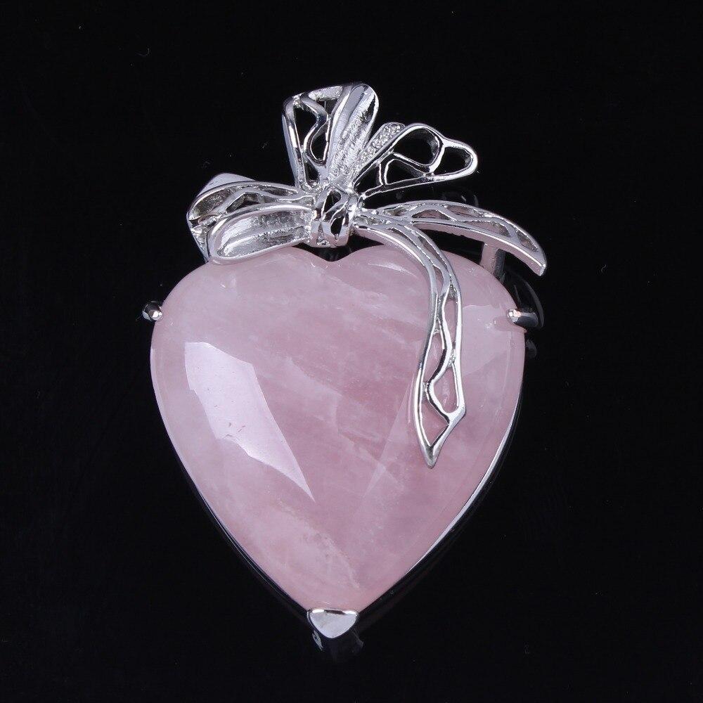 Halsketten & Anhänger Trendy-perlen Romantische Silber Überzogene Natürliche Rose Rosa Quarz Liebe Herz Mit Blume Anhänger Elegante Frauen Schmuck Verschiedene Stile