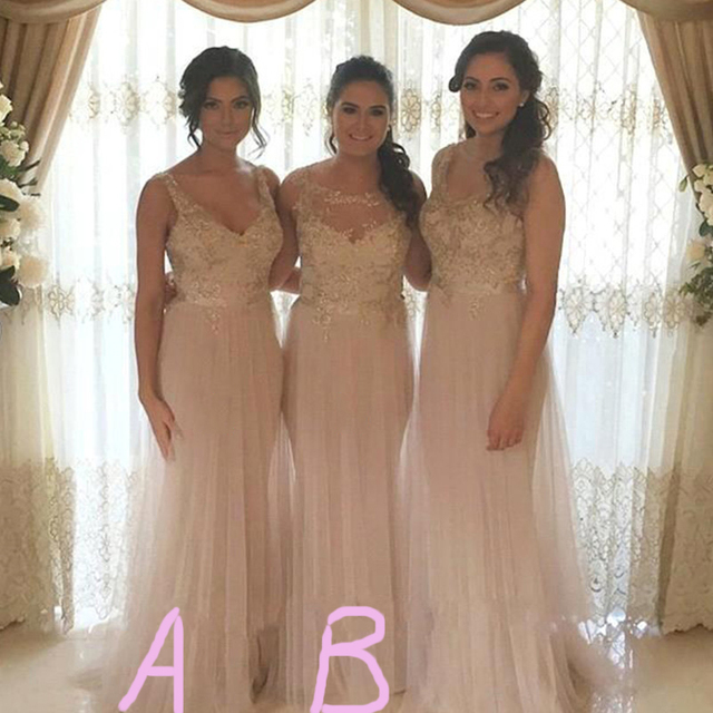 Chic Beige Tulle Long Bridesmaid Dresses Dream Wedding Women Maxi Gown Boho Outdoor Prettiest
