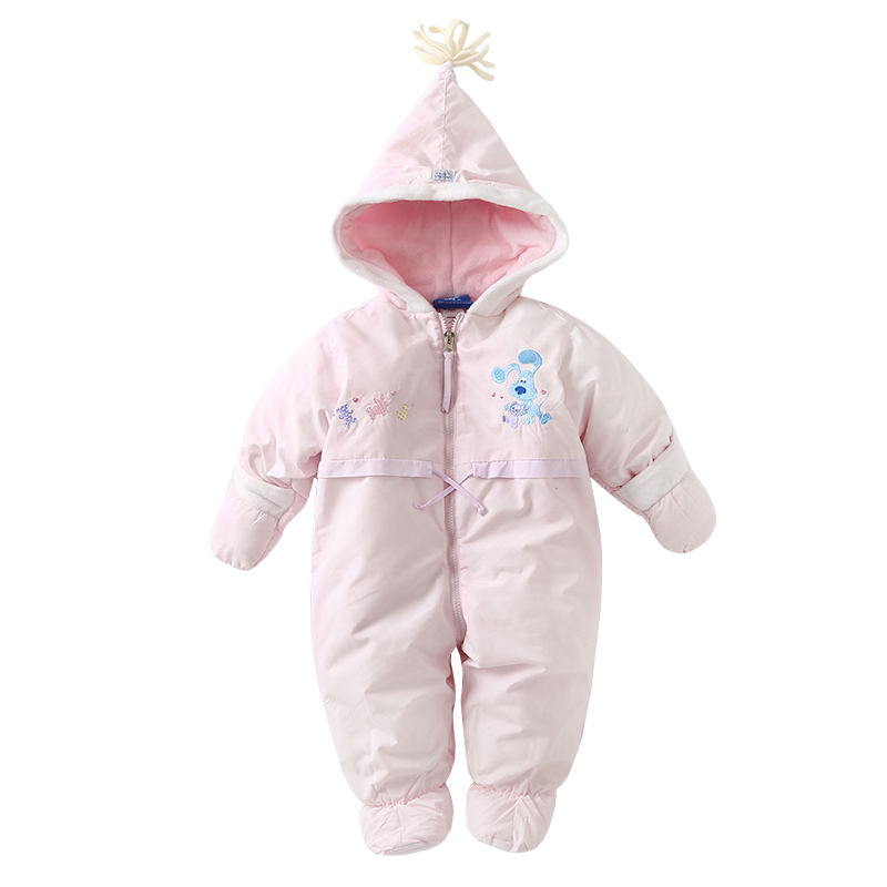 New 2018 autumn winter Girls Rompers Baby Clothes Newborn Pink Thick Warm Romper Children Cotton hooded Jumpsuit winter baby rompers organic cotton baby hooded snowsuit jumpsuit long sleeve thick warm baby girls boy romper newborn clothing