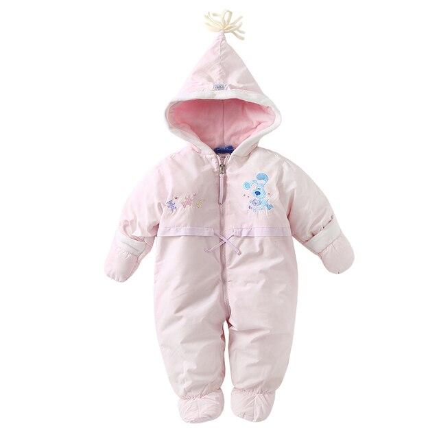 Nuevo 2018 Otoño Invierno Niñas Mamelucos bebé recién nacido Rosa grueso  caliente niños del mameluco algodón 4d2045fa1bb7
