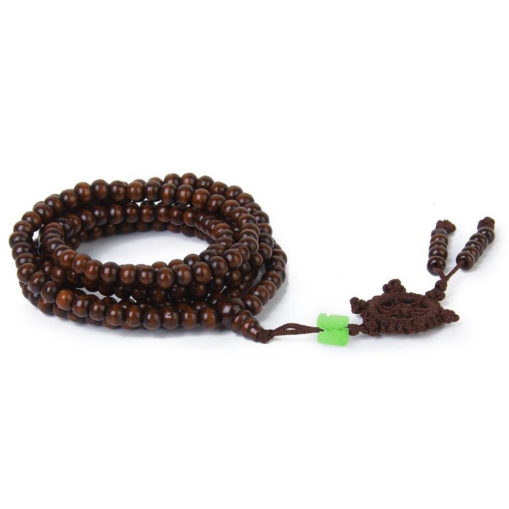 6mm Sandalwood Buddhist Buddha Meditation 104cm Prayer Bead Mala Necklace Bracelet M597 LXH