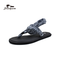 STARFARM 2017 Summer Women Yoga Sling 2 Flip Flops Prints Flat Sandals Black Gray Green Zebra