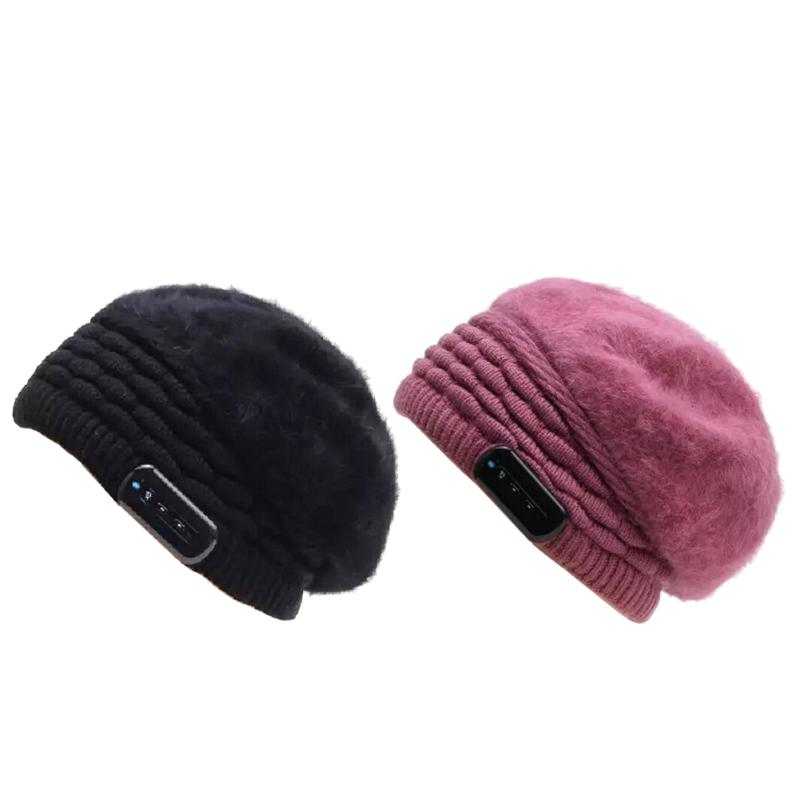 Wireless Bluetooth Headphones Music Hat Smart Cap Headset Soft Warm Beanie Winter Hat Headset with Mic for Women unisex winter plicate baggy beanie knit crochet ski hat cap red