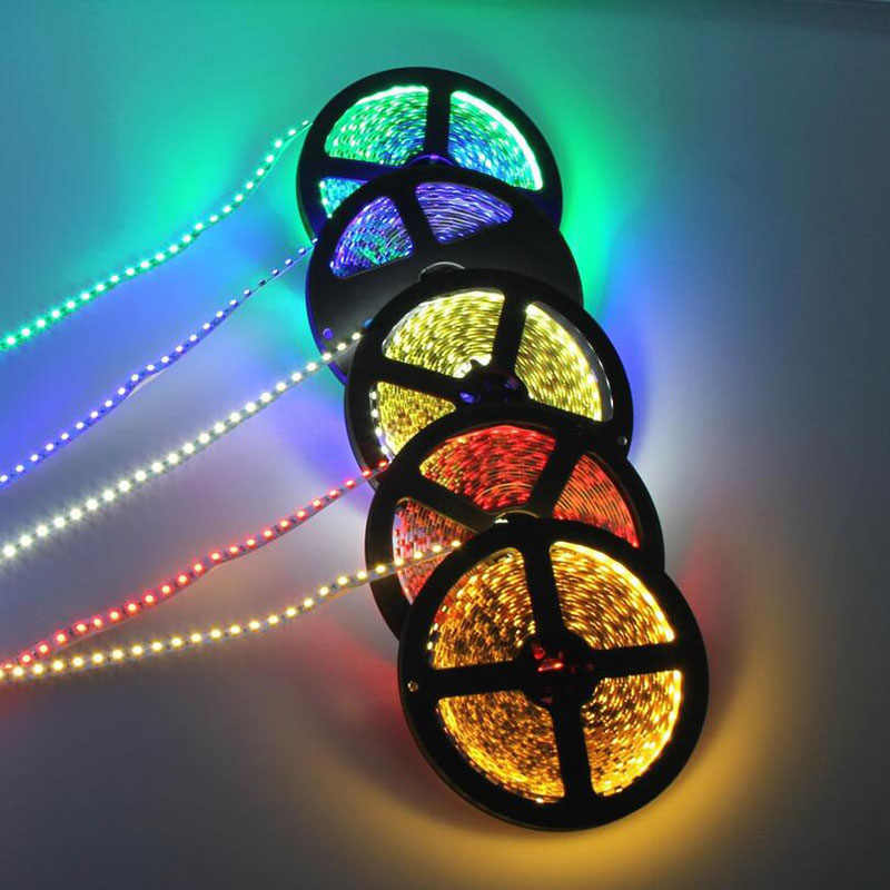DC 12 V Volt LED Strip Tape 2835 RGB Tahan Air 1-5 M 12 V DC 60LED/ M RGB LED Strip Pita Lampu Diode Fleksibel TV Backlight