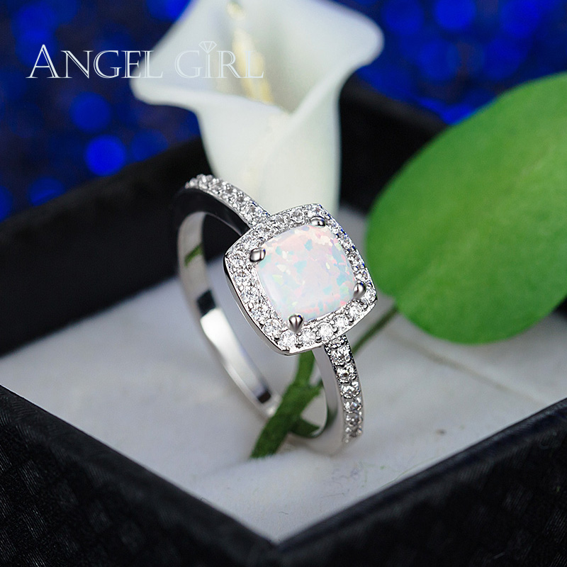 Angel girl shiny jewelry High Quality White Gold Color princess cut fire Opal Ring with CZ for women Engagement gift anel
