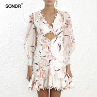 SONDR 2019 Summer Sexy Hollow Out Dress For Women V Neck Lantern Sleeve High Waist Slim Women's Mini Dresses Fashion Clothes New