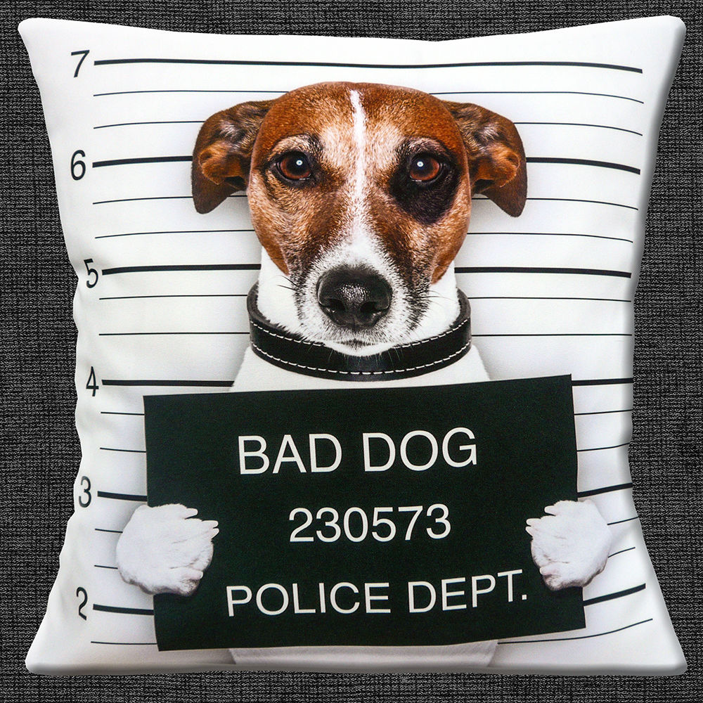 Funny Bad Dog Cushion Cover Novelty Tan Jack Russell Bad