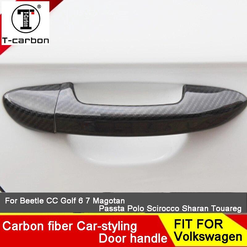 Стайлинга автомобилей углеродного волокна авто дверные ручки снаружи отделка Чехлы для Skoda Fabia Octavia Быстрое SPACEBACK RAPID Yeti Стикеры