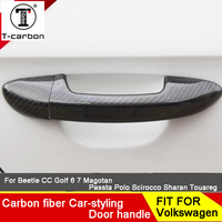 Car styling Carbon Fiber Auto Door Handle Knob Exterior Trim Covers For Skoda Fabia Octavia RAPID SPACEBACK Rapid Yeti Sticker