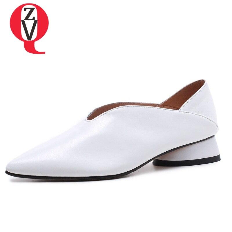 ZVQ mujer de cuero genuino bombas 33-43 gran tamaño extraño estilo agraciado 3 cm tacones bajos primavera señora de la Oficina superficial mujeres zapatos