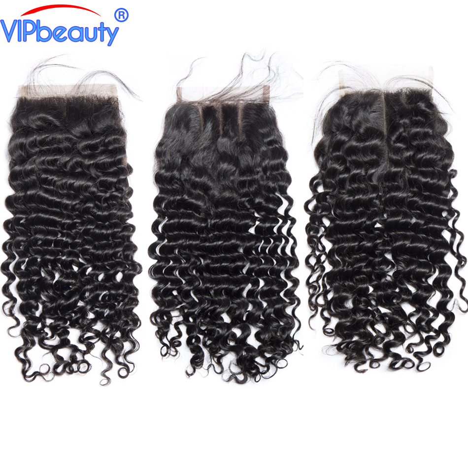 Vipbeauty 4x4 Lace Closure Deep-Curly Remy-Hair Natural-Color 100%Human-Hair Malaysian