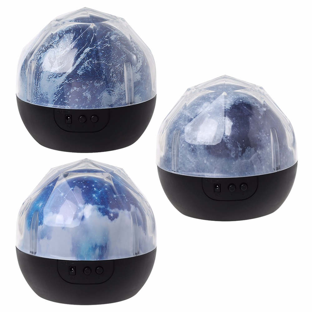 133x127mm LED Starry Sky Earth Moon Rotating Projector Lamp Magic Colorful Night Light Multi-colored
