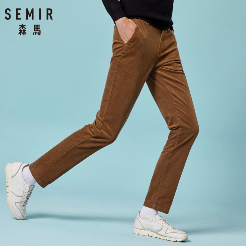 SEMIR Men Slim Fit Corduroy Pants Men's Corduroy Straight Leg Pants Long Trousers With Side Pockets In Retro Style For Winter