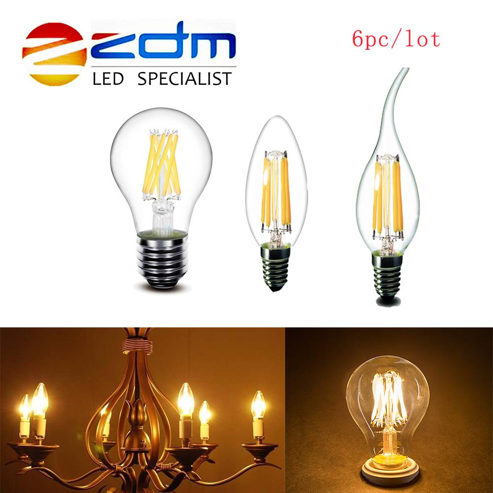 6pcs/lot Edison Retro Vintage LED Edison Bulb E27 LED Bulb E14 Filament Light 220V Glass Bulb Lamp 2W 4W 6W Candle Light Lamp canmeijia e14 led candle bulb lamp 2w 3w 4w 5w led filament light bulb 220v edison leds energy saving lamps for home chandelier