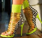 Mixed Color Strappy Sandal High Heels Peep Toe Cut-out Gold Strap Studded Sandals High Platform Cage Shoes Back Zipper Shoes