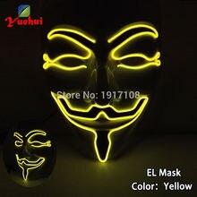 EL wire мигающая модная маска на Хэллоуин 10 цветов светодиодный светящийся подарок с Sound звуком активных водителей Вечерние Маски