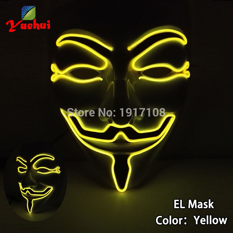 Wholesale 2017 EL wire Flashing fashion Halloween Mask 10 Color LED glowing Mask Gift with DC-3V Sound Active Driver party mask
