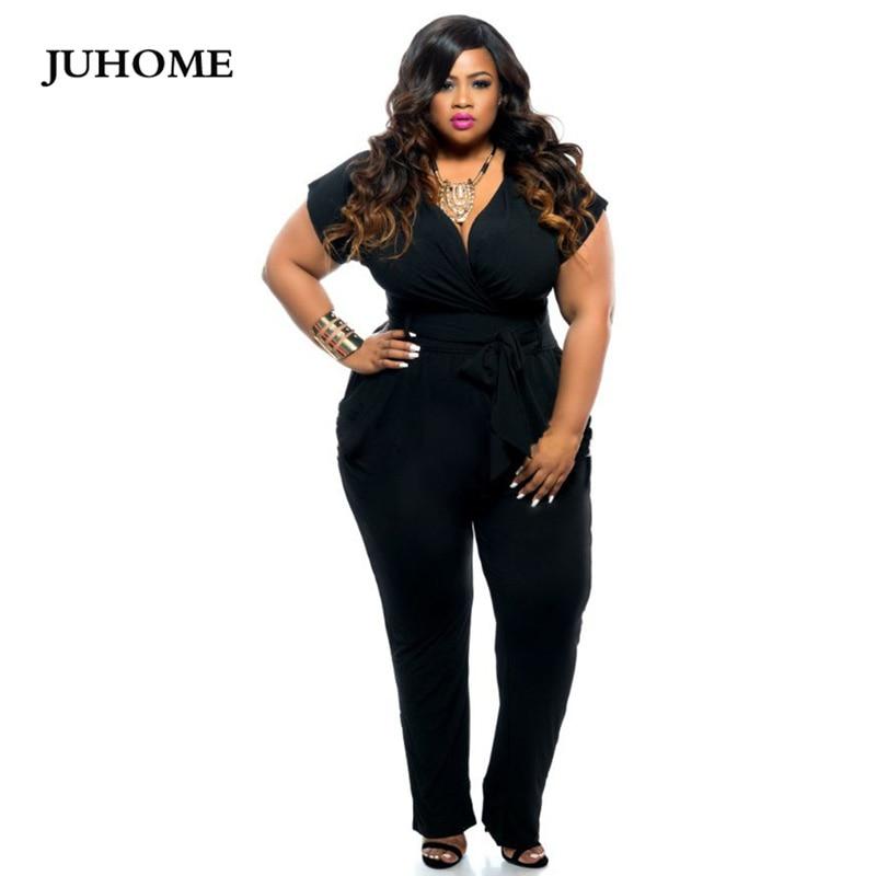 2018 autumn Fashion Woman Bodysuit V-Neck Black/Blue Large Size L-XXXL Sexy Tunic Romper Short Sleeve Female   Jumpsuit   Plus Size