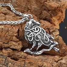 Stainless Steel Jewelry Viking Raven Pendant Necklace Mens Odin Amulet Crow Gives Friends the Best Gift