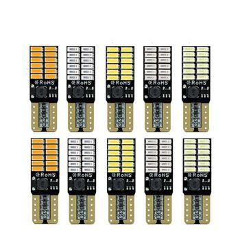 10x Canbus T10 Led Luz de coche sin Error W5W 194 168 filamento Led Cob de silicona, luz de lectura automática, lámpara azul cálido blanco