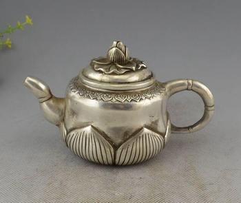 Collection Chinese Folk Silver Auspicious Lotus Teapot Flagon Statue