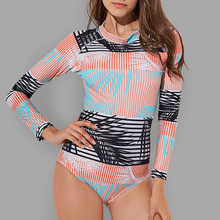 Vintage Swimsuit Women One Piece Swimsuits Retro Surfing Rash Guards Print Long sleeve Swimwear female zipper Bathing Suit