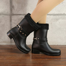 Chain 2019 Summer Women Rain Boots Socks Rubber Women Mid calf Boots Waterproof Comfort Casual Martin Boots rain(China)