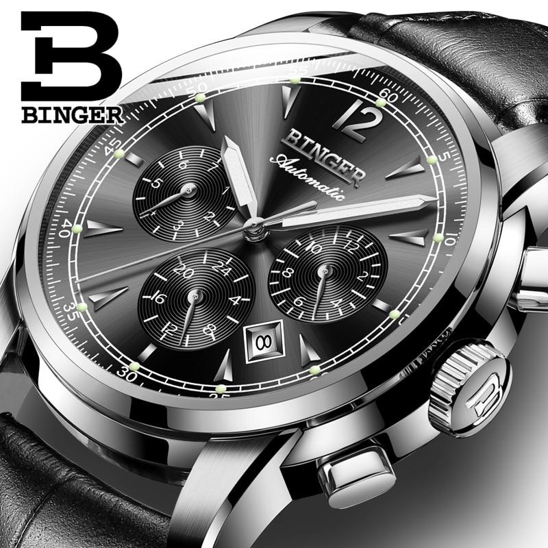 Image 5 - Switzerland Automatic Mechanical Watch Men Binger Luxury Brand  Watches Male Sapphire clock Waterproof reloj hombre B1178  20hombrehombre reloj
